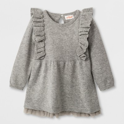 Baby Girls' Long Sleeve Ruffle Shoulder Sweater Dress - Cat & Jack™ Gray 6-9M