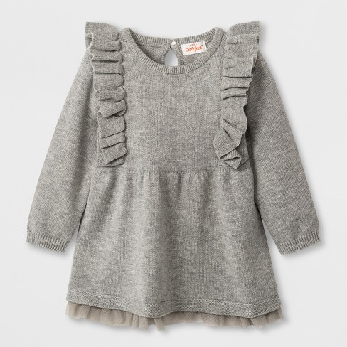 Baby Girls Long Sleeve Ruffle Shoulder Sweater Dress Cat Jack Gray