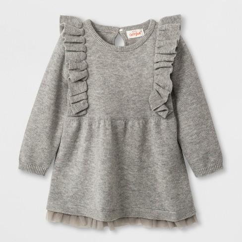 a19a4ae6322 Baby Girls  Long Sleeve Ruffle Shoulder Sweater Dress - Cat   Jack™ Gray