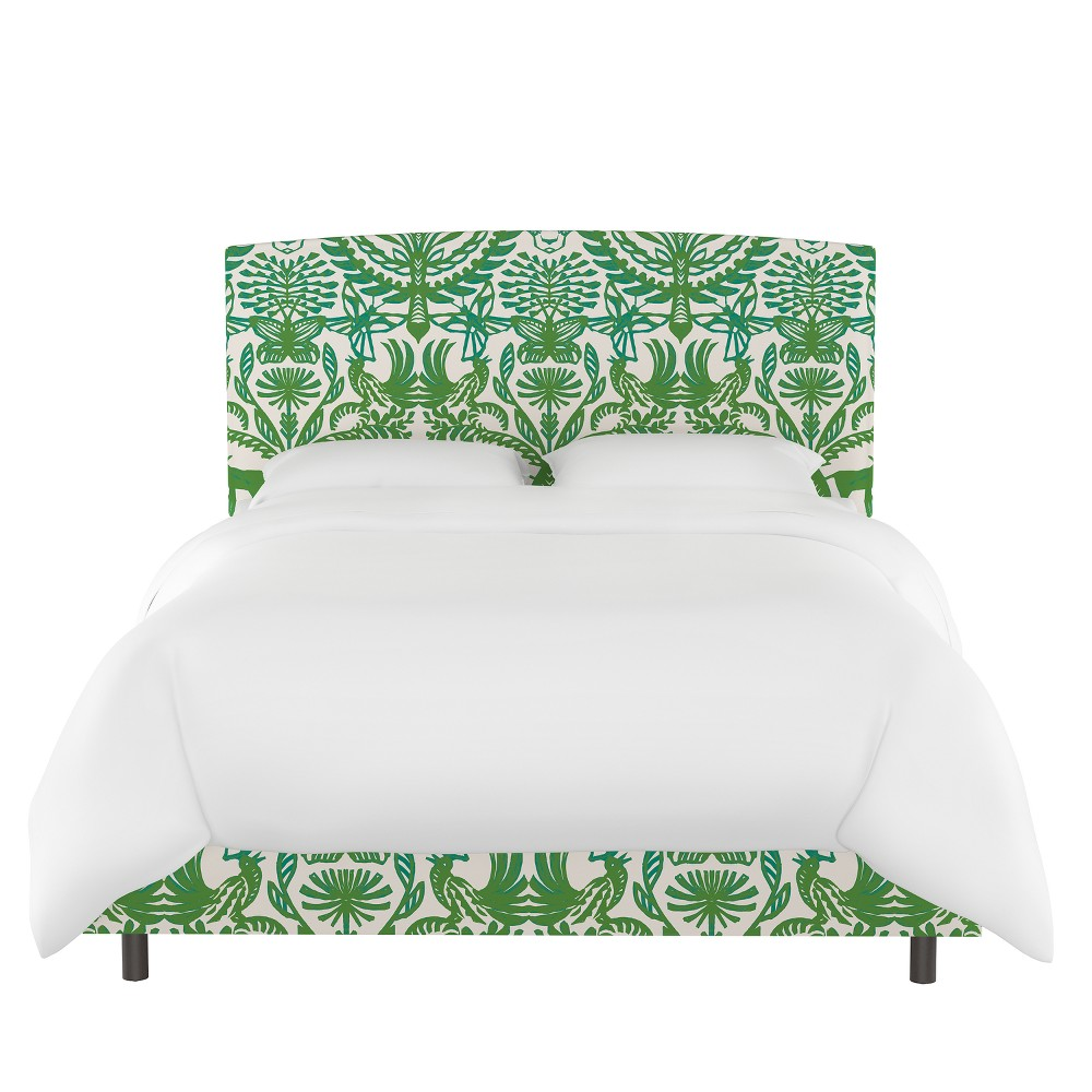 Upholstered Bed Queen Animal Print Green/Cream - Opalhouse, Green & Cream Animal Print