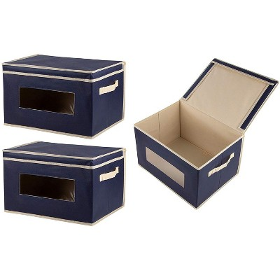 Juvale 3 Pack Collapsible Fabric Storage Bins Cubes, Decorative Foldable Boxes with Window & Lid – Navy Blue, Large, 16.25 x 12 x 10 Inches