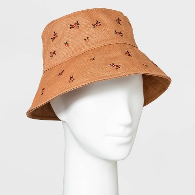 Women's Floral Embroidered Corduroy Bucket Hat - Wild Fable™ Brown
