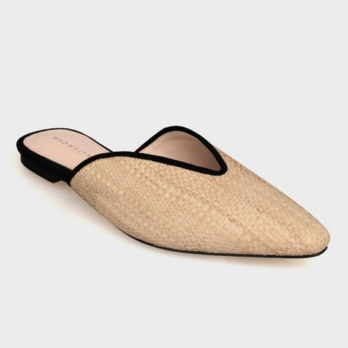 Women's Parker Raffia Backless Mules - Who What Wear™ Tan - image 1 of 3