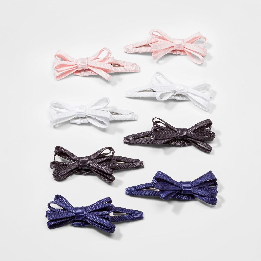 Toddler Girls' 8pk Bow Salon Hair Clips - Cat & Jack Pink/White/Black