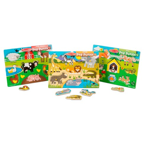 Melissa & Doug® World of Animals Wooden Peg Puzzles Set - Pets, Farm, and Safari 23pc - image 1 of 4