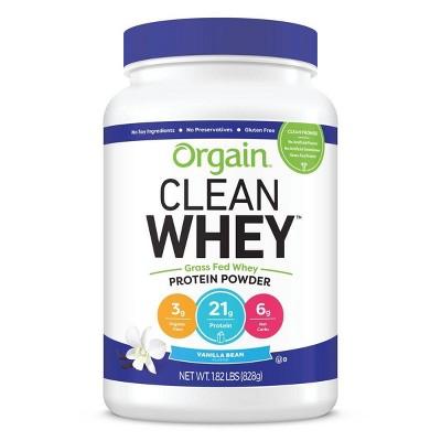 Orgain Clean Whey Grass-Fed Protein Powder - Vanilla Bean - 29.12oz