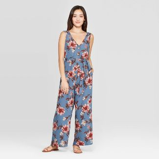 Women's Floral Print Sleeveless Deep V-Neck Belted Button Front Jumpsuit - Xhilaration™ Light Blue S