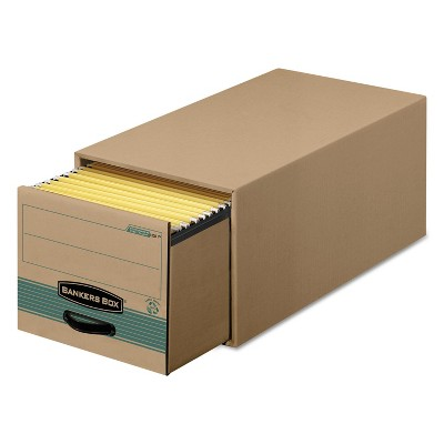 Bankers Box Super STOR/DRAWER Steel Plus Storage Box Letter Kraft/Green 6/Carton 1231101