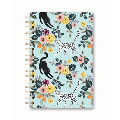 Spiral Notebook 1 Subject Narrow Ruled Floral Felines - OCS Designs