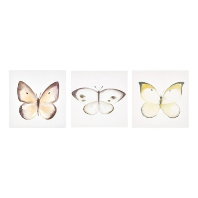 "(Set of 3) 12"" Square Vintage Butterfly Hand Embellished Wall Canvas"