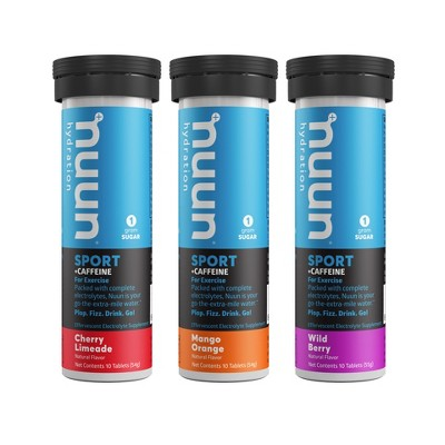 nuun Hydration Sport + Caffeine Vegan Tablets - Cherry Limeade, Wild Berry, & Mango Orange - 10ct/3pk