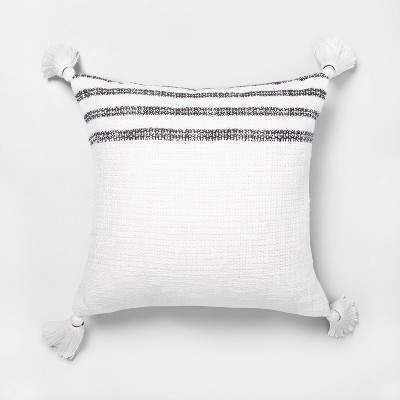 18x18 Stripe Throw Pillow Railroad Gray / Sour Cream - Hearth & Hand™ with Magnolia