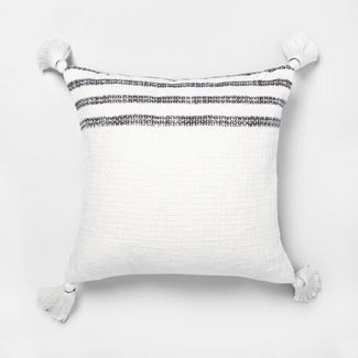 "18"" x 18"" Stripe Throw Pillow Railroad Gray / Sour Cream - Hearth & Hand™ with Magnolia"