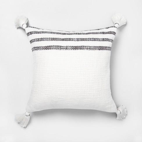 "18"" x 18"" Stripe Throw Pillow Railroad Gray / Sour Cream - Hearth & Hand™ with Magnolia - image 1 of 4"