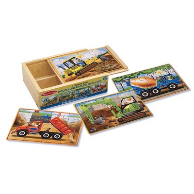 Melissa & Doug Construction Vehicles 4-in-1 Wooden Jigsaw Puzzles (48pc)
