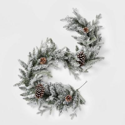 6ft Christmas Flocked Balsam Fir Pinecones Artificial Garland - Wondershop™