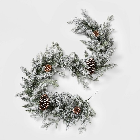 new york 9ddee 5e461 6ft Christmas Flocked Balsam Fir Pinecones Artificial Garland - Wondershop™