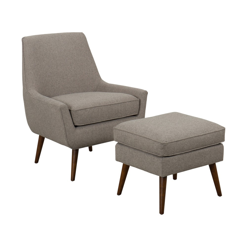 Dean Modern Accent Chair with Ottoman Light Brown - Homepop