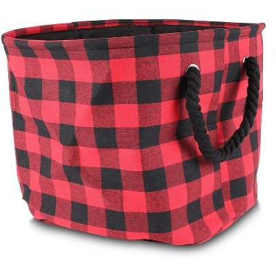 Okuna Outpost Foldable Storage Bin with Rope Handles, Buffalo Plaid Design (16 x 10 x 12 in)