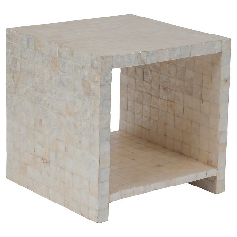 Uptown Cube Side Table Accented With Capiz Shells - White - Jeffan - image 1 of 5
