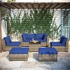 7pc Wicker Rattan Patio Set - Blue - Accent Furniture - image 2 of 4