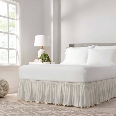 Wrap Around Pom Pom Bed Skirt - EasyFit™