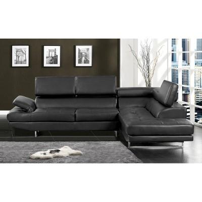 Charming IoHomes Naia Modern Leatherette Sectional Sofa Black : Target
