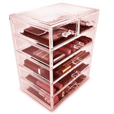 Bon Sorbus Cosmetic Makeup And Jewelry Storage Case Display (4 Large/2 Small  Drawers) : Target