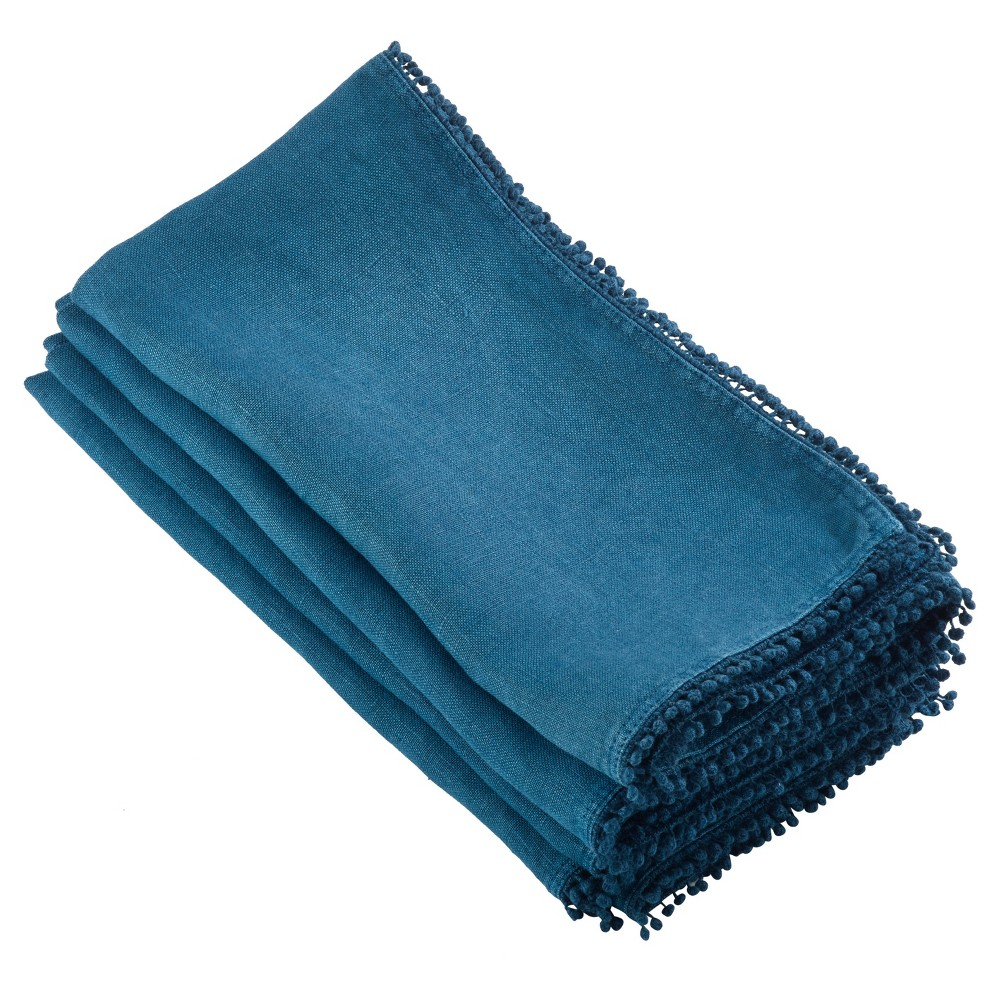 "Image of ""4pk Blue PomPom Design Napkin 20"""" - Saro Lifestyle, Blue Blue"""