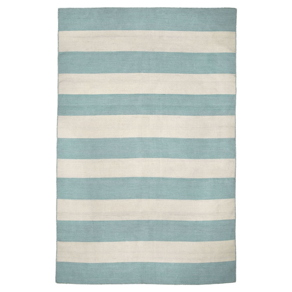 "Image of ""Sorrento Rugby Stripe Water Rug - Blue - (3'6""""X5'6"""") - Liora Manne"""