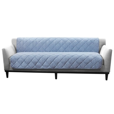 Soft Textured Linen Armless Furniture Protector Sofa - Sure Fit - image 1 of 3