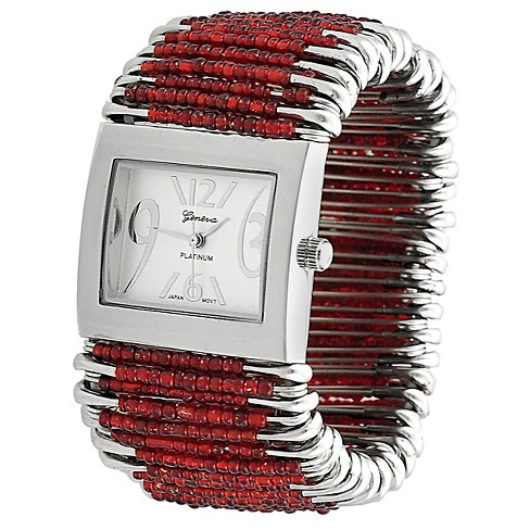 Women's Geneva Platinum Bead Safety Pin Stretch Watch - image 1 of 3