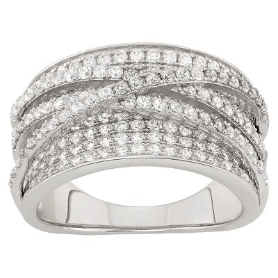 """2.15 CT. T.W. Curved """"x"""" Cubic Zirconia Ring In Sterling Silver"""