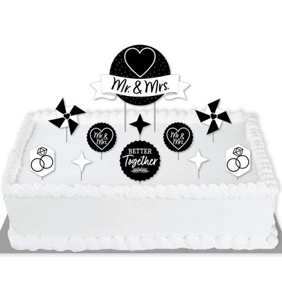 Big Dot of Happiness Mr. and Mrs. - Black and White Wedding or Bridal Shower Cake Decorating Kit - Mr. and Mrs. Cake Topper Set - 11 Pieces