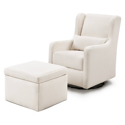 Carter's by DaVinci Adrian Swivel Glider with Storage Ottoman - Performance Cream Linen