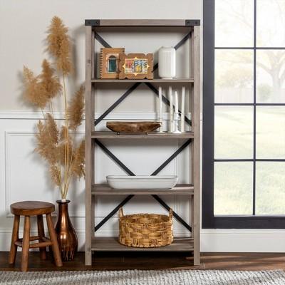 "64"" Rustic Farmhouse X Back Bookshelf - Saracina Home : Target"