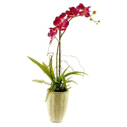 "Artificial Orchid and Fern Arrangement Purple 26"" - LCG Florals - image 1 of 1"