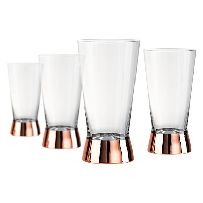 Artland Coppertino 4pk 15oz Highball Glasses Copper