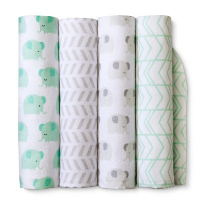 Flannel Baby Blankets Elephants 4pk - Cloud Island™ Mint