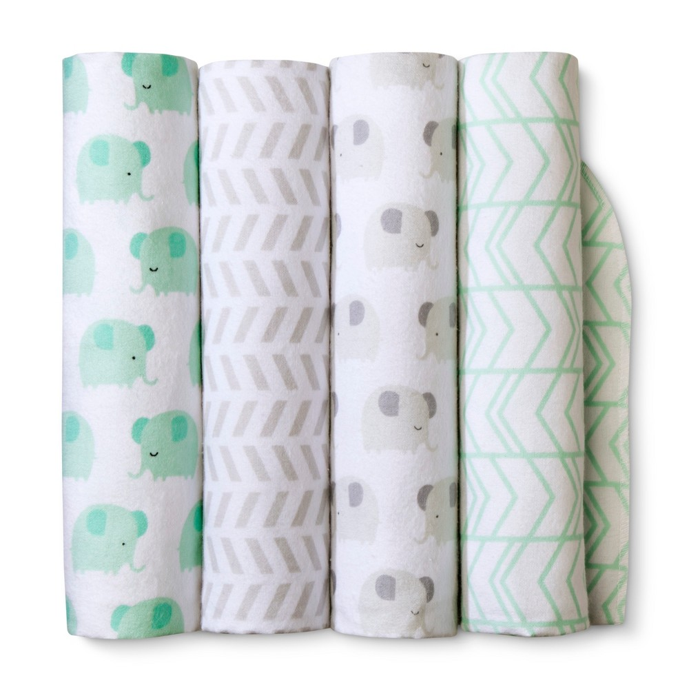Image of Flannel Baby Blankets Elephants 4pk - Cloud Island Mint, Gray Green White