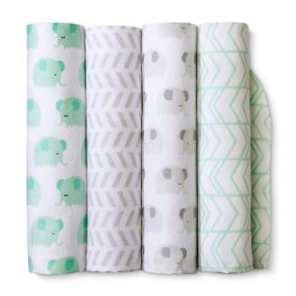 Flannel Baby Blankets Elephants 4pk - Cloud Island™ Mint