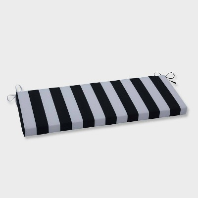Cabana Stripe Outdoor Bench Cushion Black - Pillow Perfect