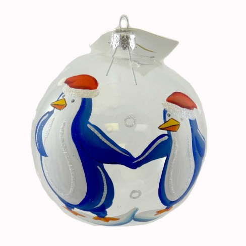 Laved Italian Ornaments Clear Ball Santa Penguins Christmas Ocean  -  Tree Ornaments - image 1 of 2