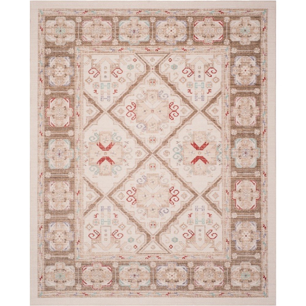 5'X7' Medallion Loomed Area Rug Ivory/Brown - Safavieh, White