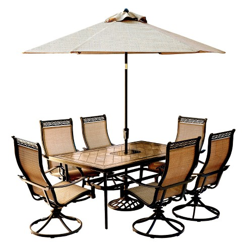 Monaco 9pc Rectangle Metal Patio Dining Set w/ 9' Umbrella & Stand - Tan - Hanover - image 1 of 11