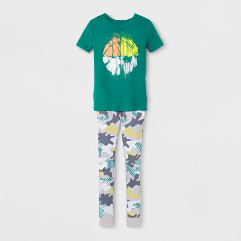 Boys' Short Sleeve 2pc Sports Pajama Set - Cat & Jack™ Green - image 1 of 1