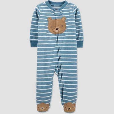 Baby Boys' Bear Striped Sleep N' Play - Just One You® made by carter's Blue 6M