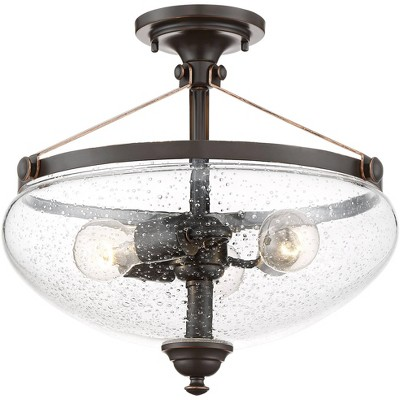 """Franklin Iron Works Industrial Rustic Semi Flush Mount Ceiling Light Fixture Oil Rubbed Bronze 15 1/4"""" Wide 3-Light Glass Bedroom"""