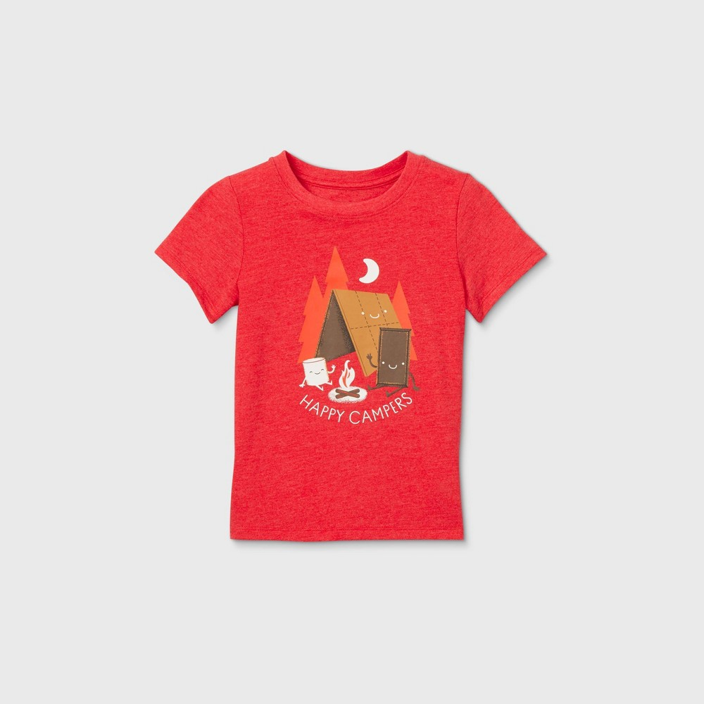 Toddler Boys' 'Happy Campers' Graphic Short Sleeve T-Shirt - Cat & Jack Bright Red 4T -  81130051