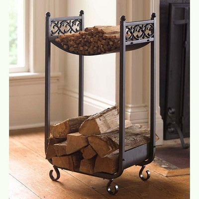 Plow & Hearth - Compact Log Rack, Cast Iron with Scrollwork Design